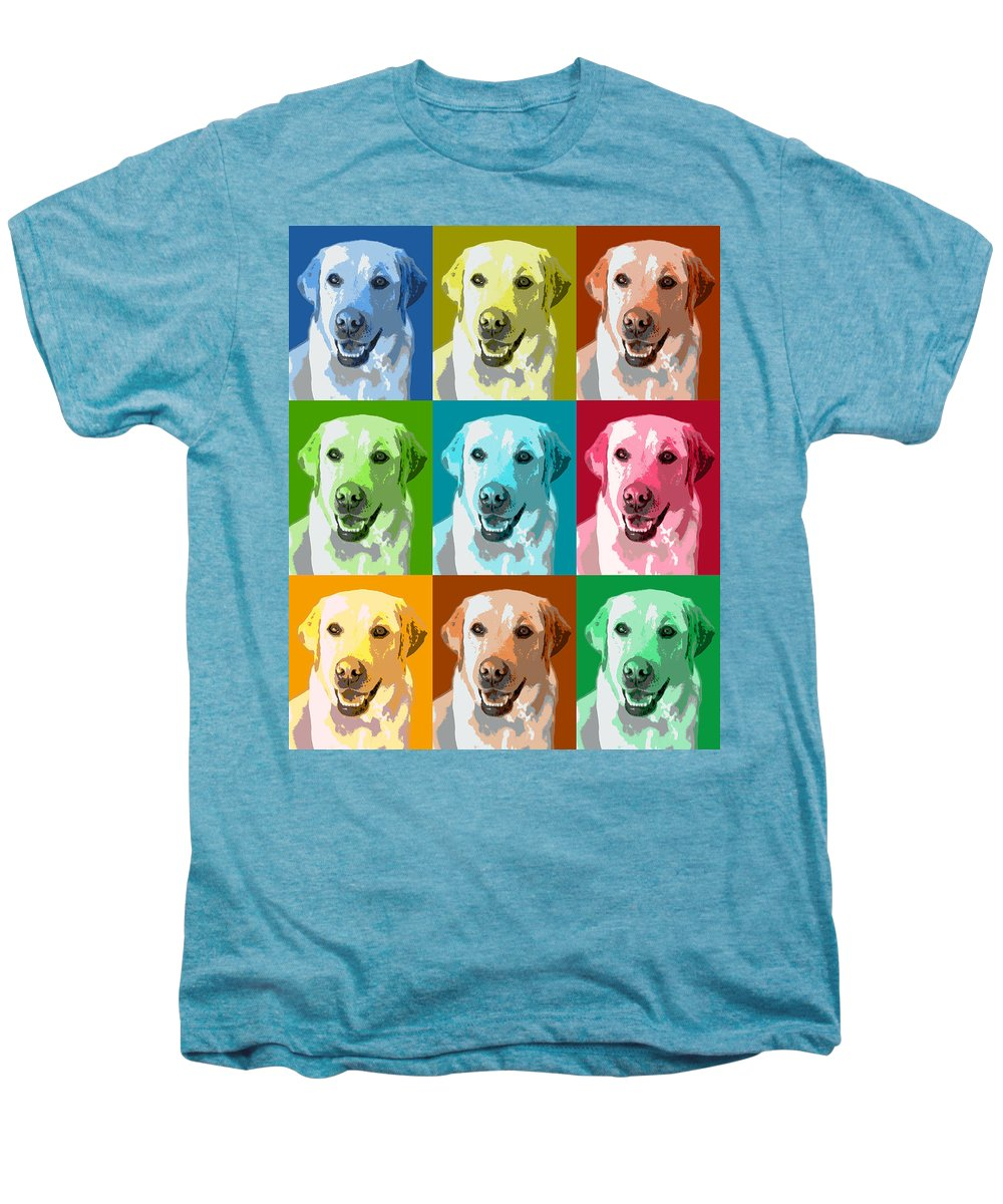 Americana Men's Premium T-Shirt featuring the photograph Golden Retriever Warhol by Marilyn Hunt