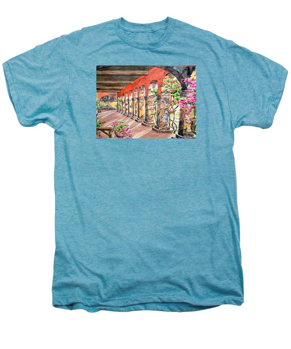 Landscape Men's Premium T-Shirt featuring the painting Monasterio by Tatiana Escobar