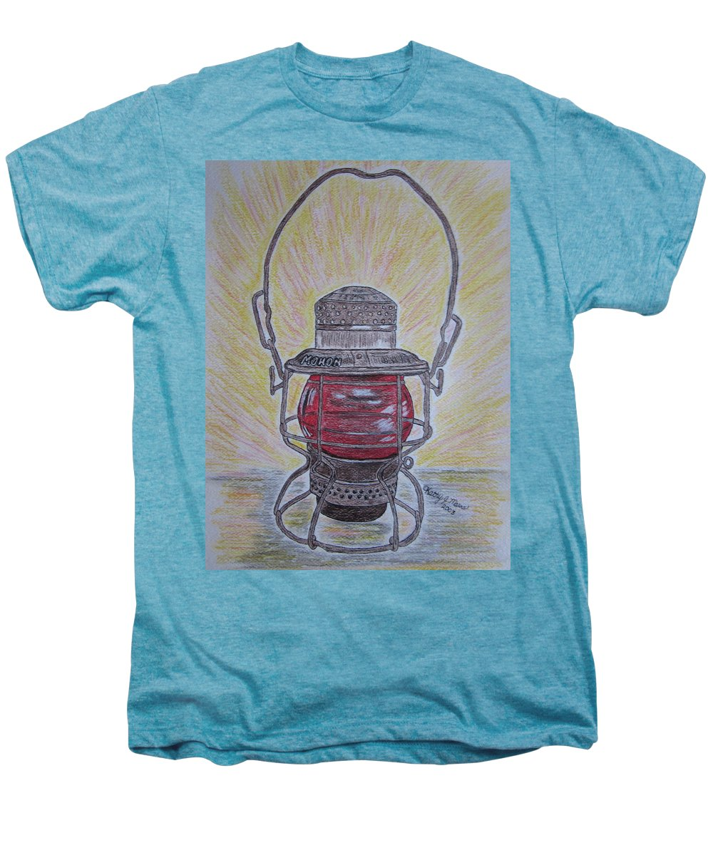 Monon Men's Premium T-Shirt featuring the painting Monon Red Globe Railroad Lantern by Kathy Marrs Chandler