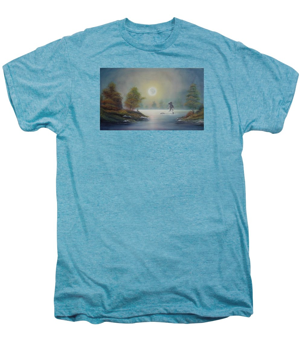 Landscape Men's Premium T-Shirt featuring the painting Monstruo Ness by Angel Ortiz