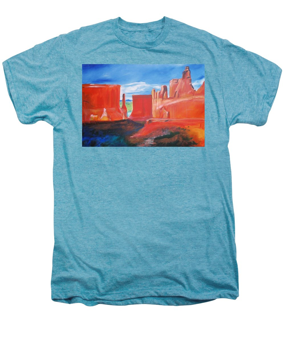 Floral Men's Premium T-Shirt featuring the painting Monument Valley by Eric Schiabor