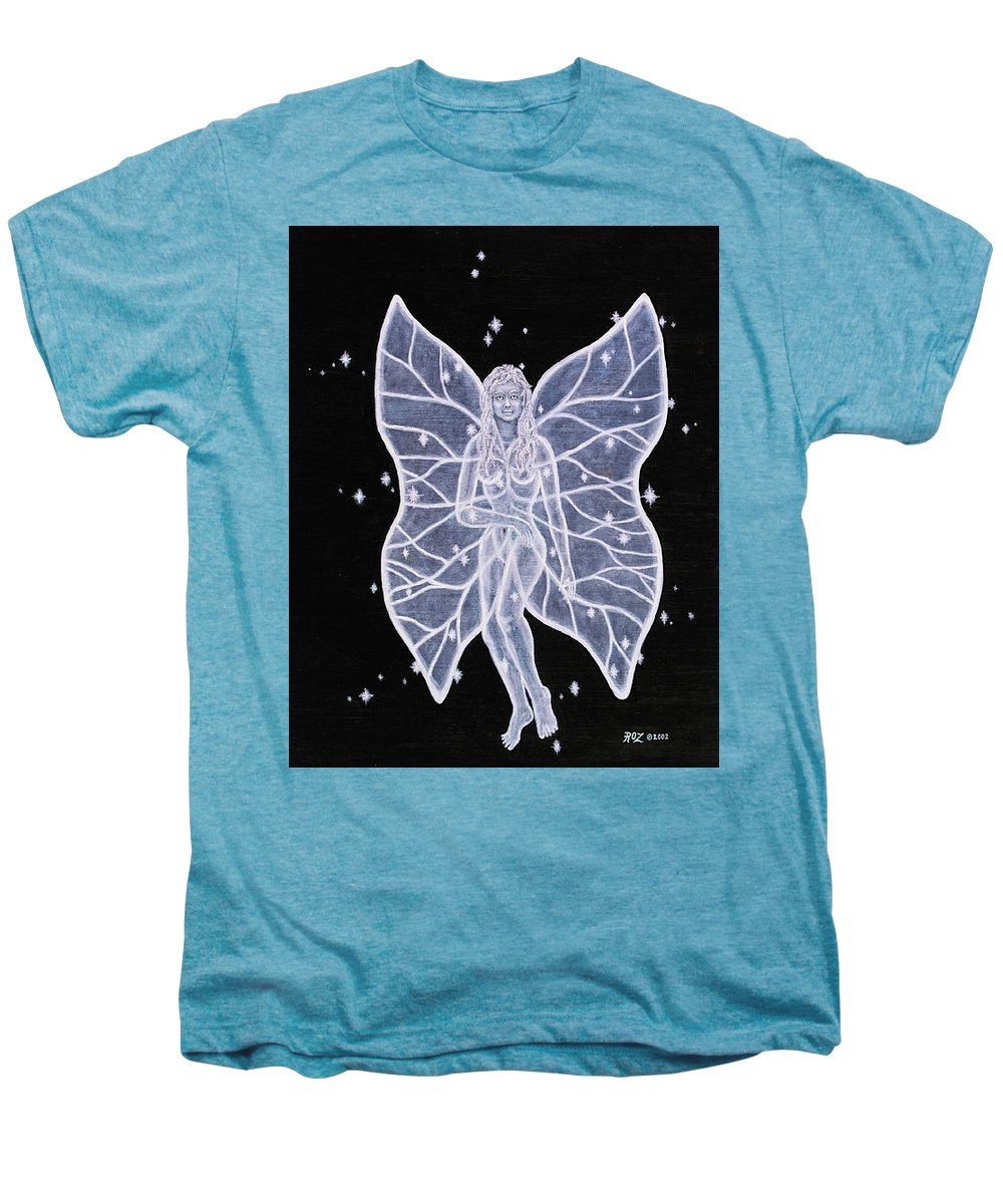 Fairy Men's Premium T-Shirt featuring the painting Moon Fairy by Roz Eve