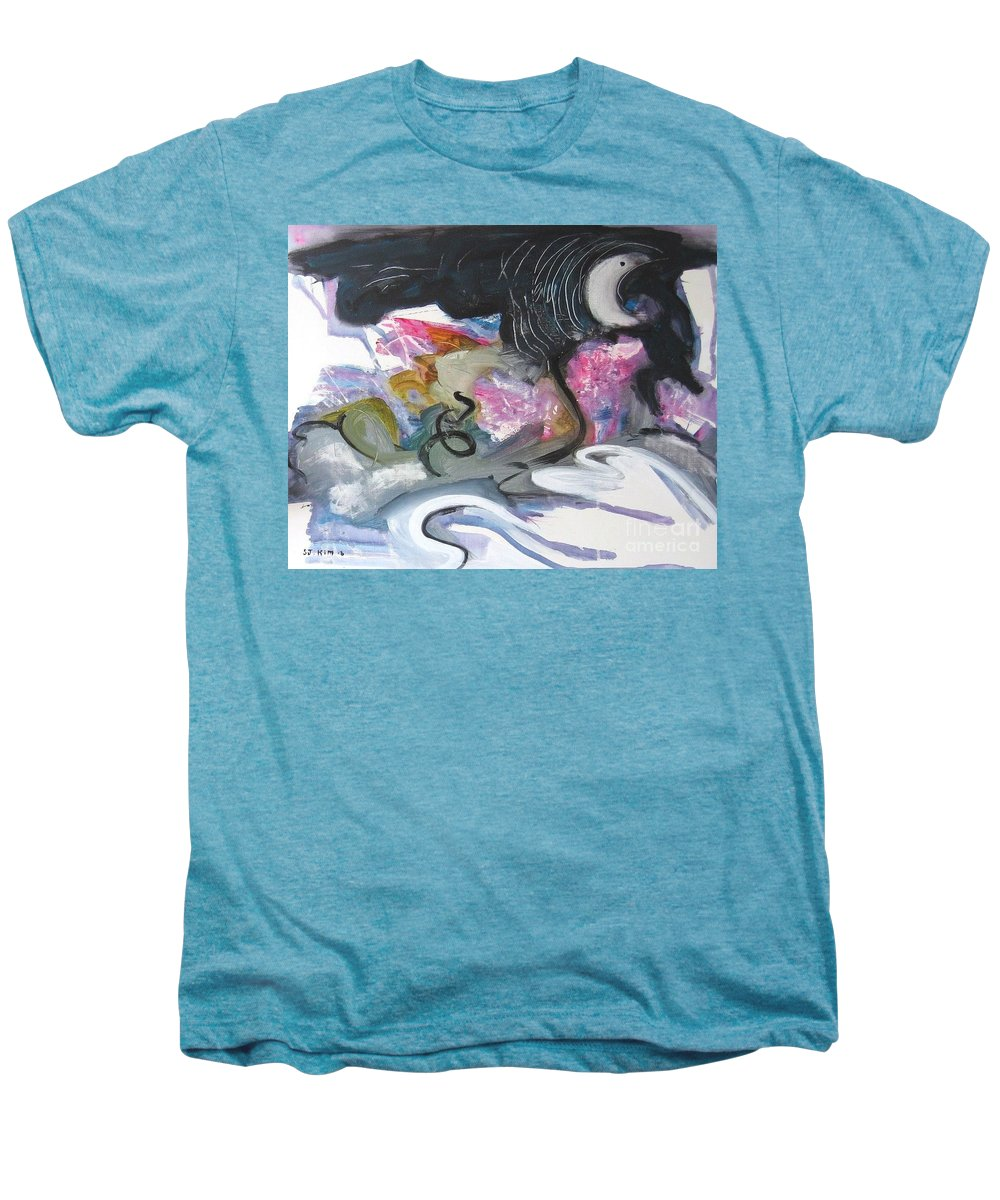 Abstract Paintings Men's Premium T-Shirt featuring the painting Moonlight Fever by Seon-Jeong Kim