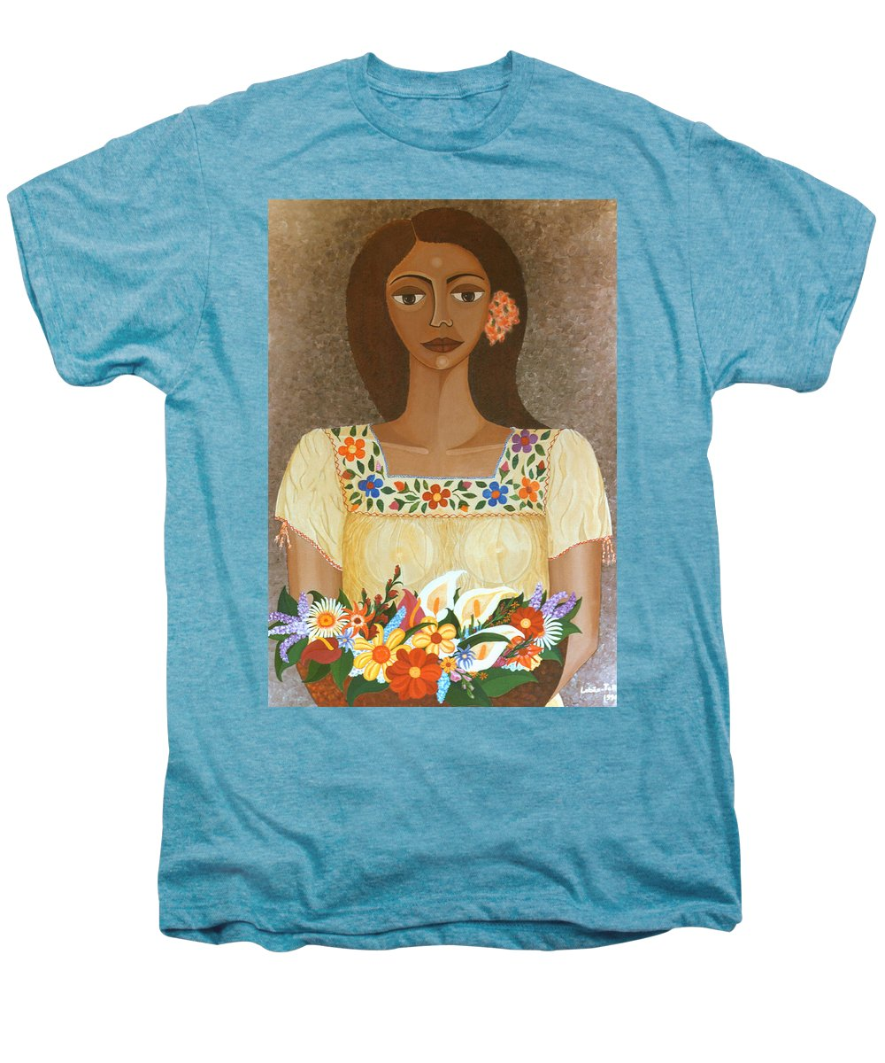 Oil Men's Premium T-Shirt featuring the painting More Than Flowers She Sold Illusions by Madalena Lobao-Tello