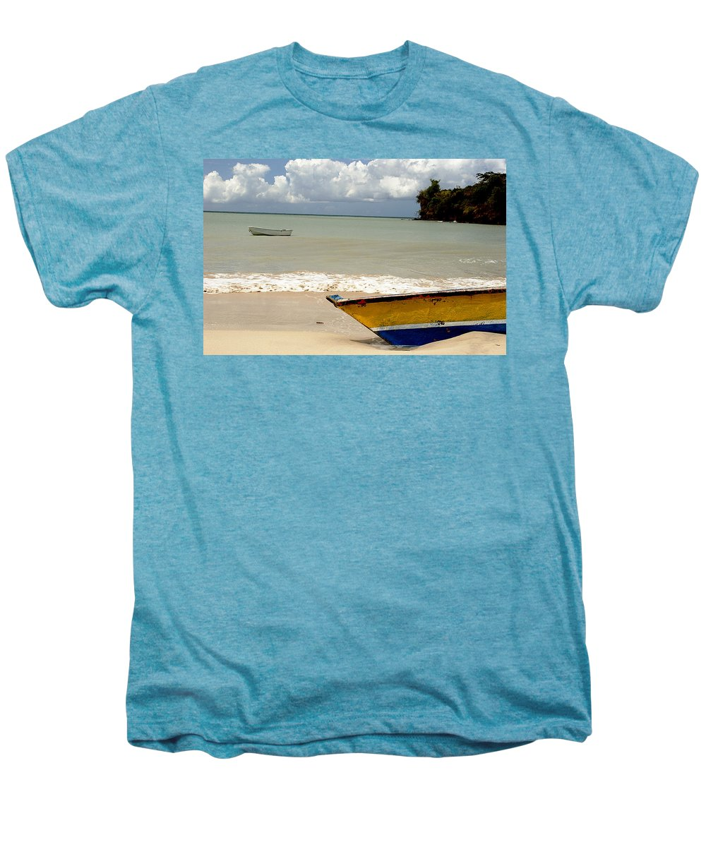 Boat Men's Premium T-Shirt featuring the photograph Morne Rouge Boats by Jean Macaluso