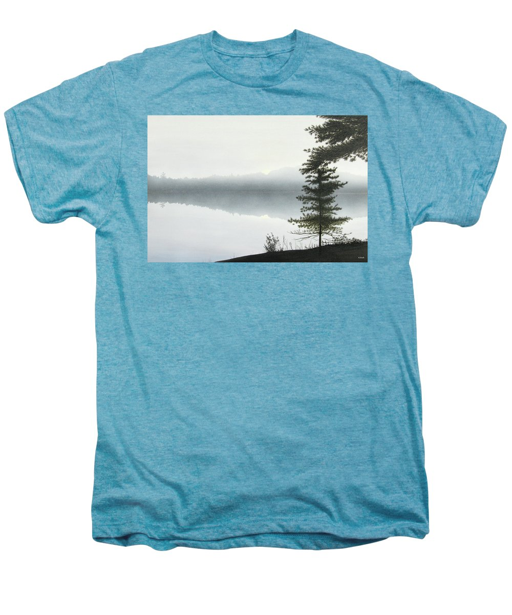 Landscapes Men's Premium T-Shirt featuring the painting Morning Fog by Kenneth M Kirsch