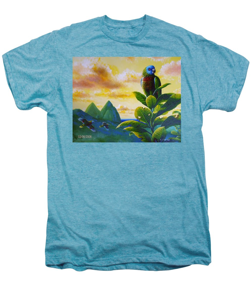 Chris Cox Men's Premium T-Shirt featuring the painting Morning Glory - St. Lucia Parrots by Christopher Cox