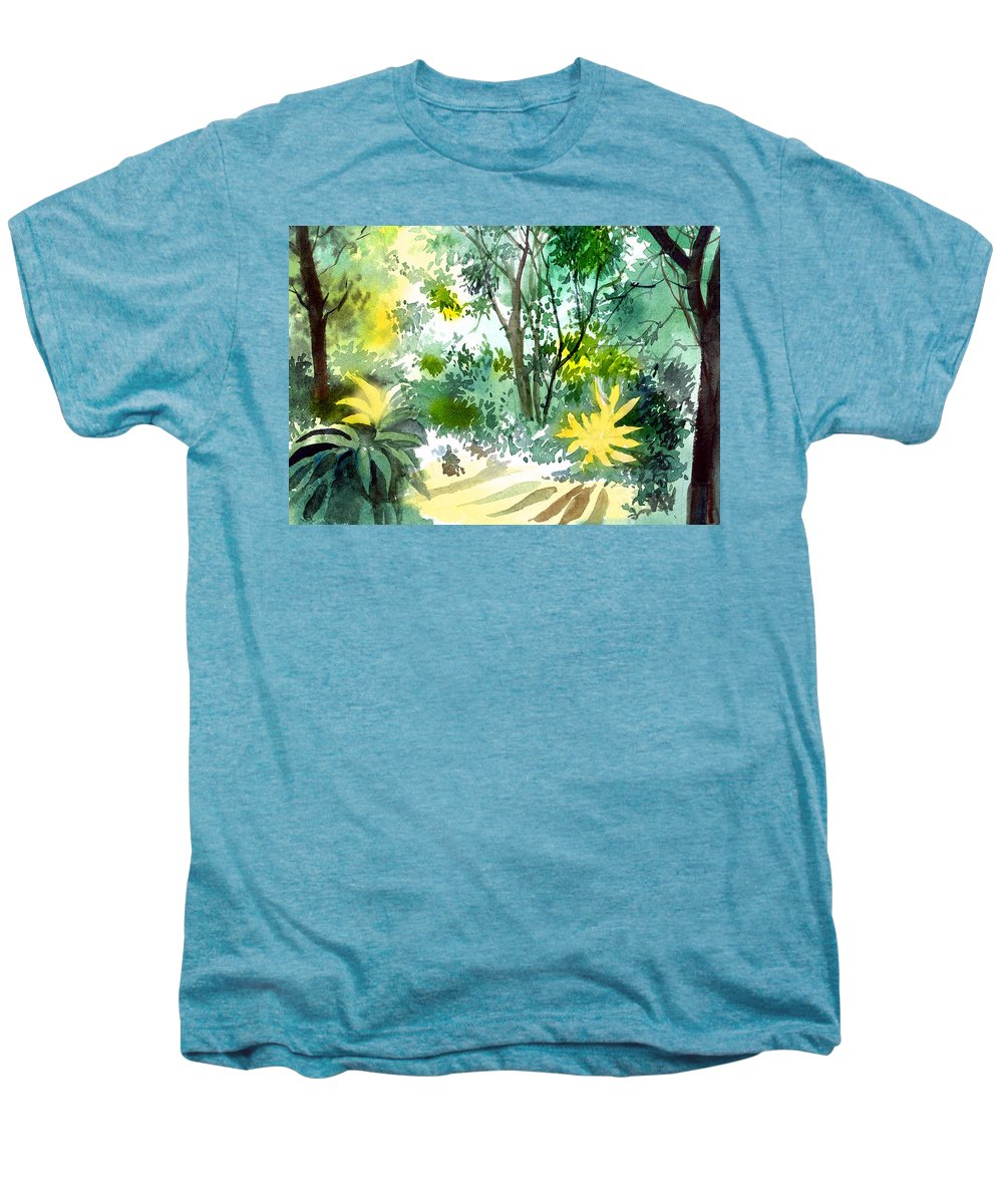Landscape Men's Premium T-Shirt featuring the painting Morning Glory by Anil Nene