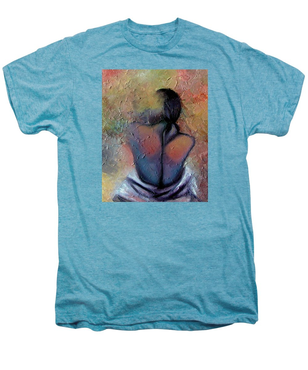 Abstract Men's Premium T-Shirt featuring the painting Morning Glow by Elizabeth Lisy Figueroa