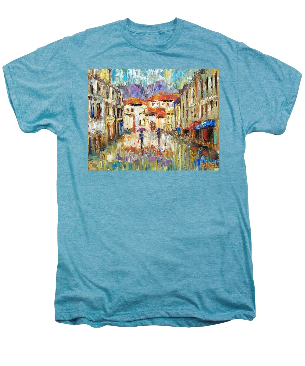 Landscape Men's Premium T-Shirt featuring the painting Morning Rain by Debra Hurd