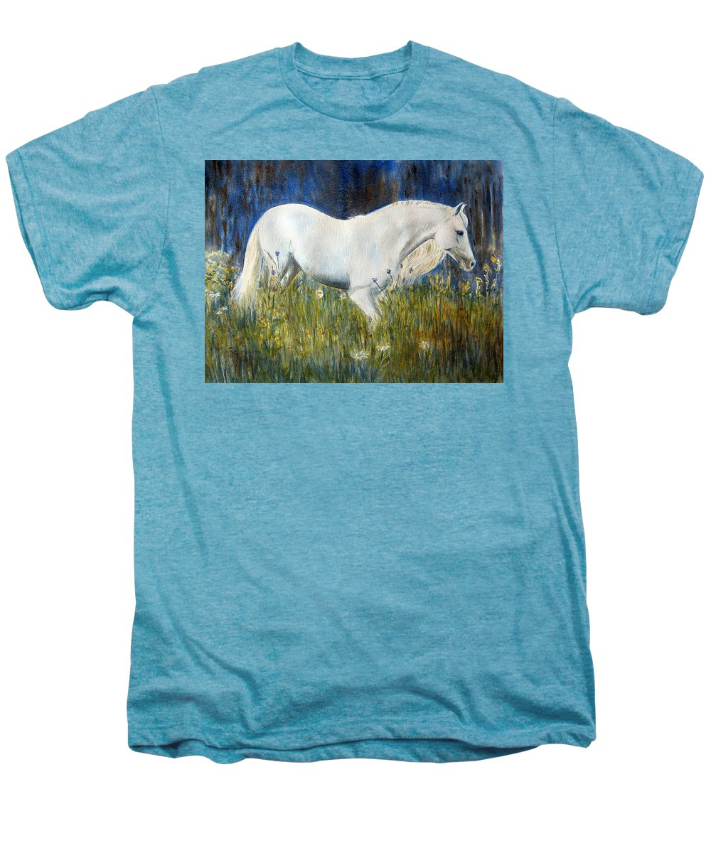 Horse Painting Men's Premium T-Shirt featuring the painting Morning Walk by Frances Gillotti