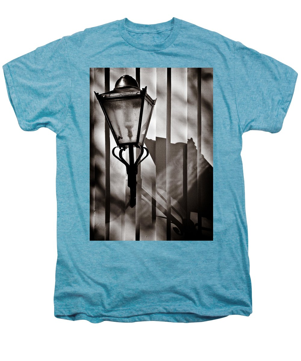 Moth Men's Premium T-Shirt featuring the photograph Moth And Lamp by Dave Bowman