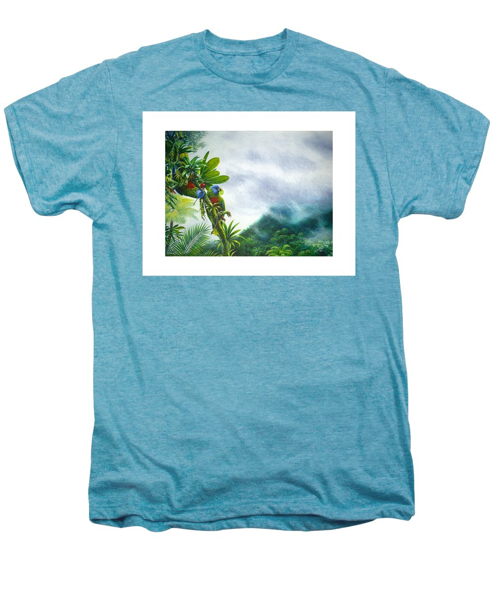 Chris Cox Men's Premium T-Shirt featuring the painting Mountain High - St. Lucia Parrots by Christopher Cox