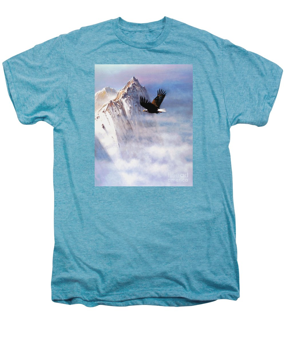 Eagle Men's Premium T-Shirt featuring the painting Mountain Majesty by Robert Foster