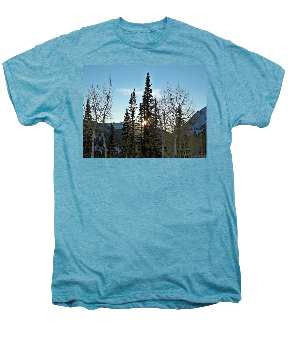 Rural Men's Premium T-Shirt featuring the photograph Mountain Sunset by Michael Cuozzo