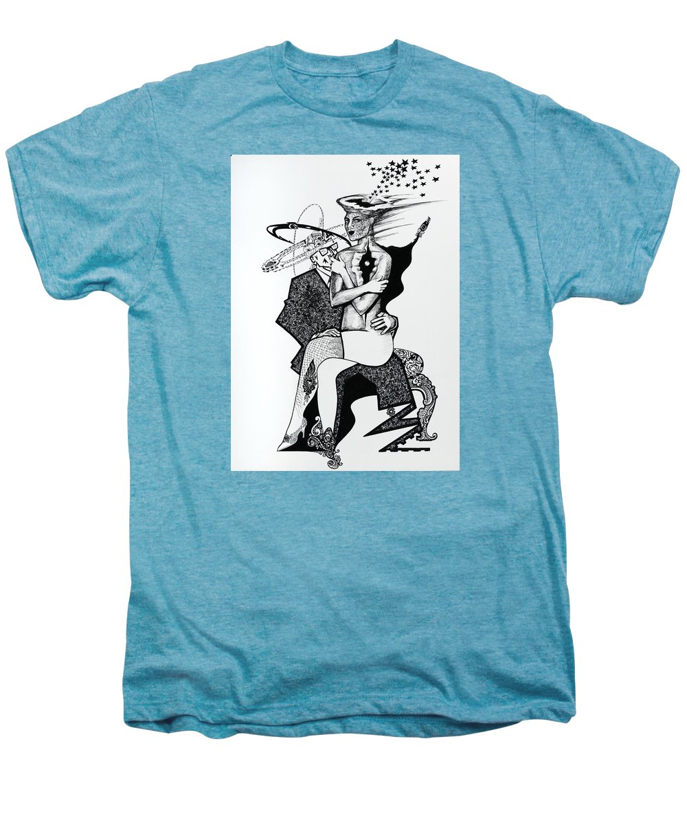 Love Men's Premium T-Shirt featuring the drawing My Shadow And I by Yelena Tylkina