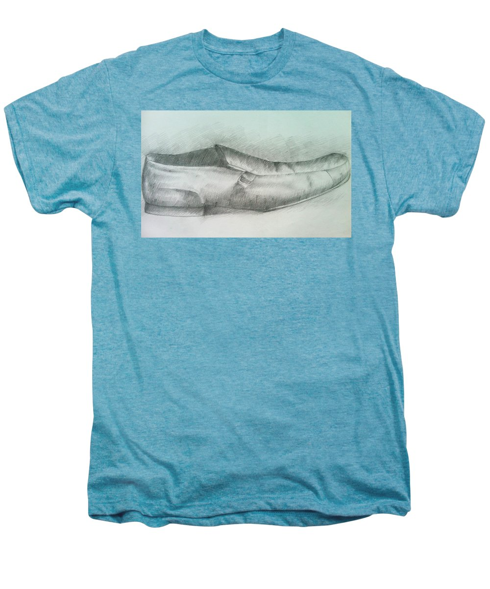 Drawings Men's Premium T-Shirt featuring the drawing My Shoe by Olaoluwa Smith