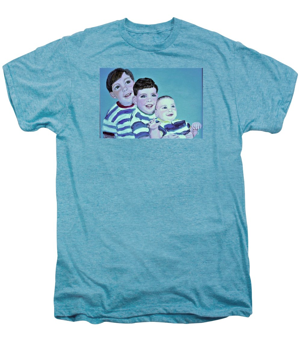 Children Men's Premium T-Shirt featuring the painting My Three Sons by Laurie Morgan