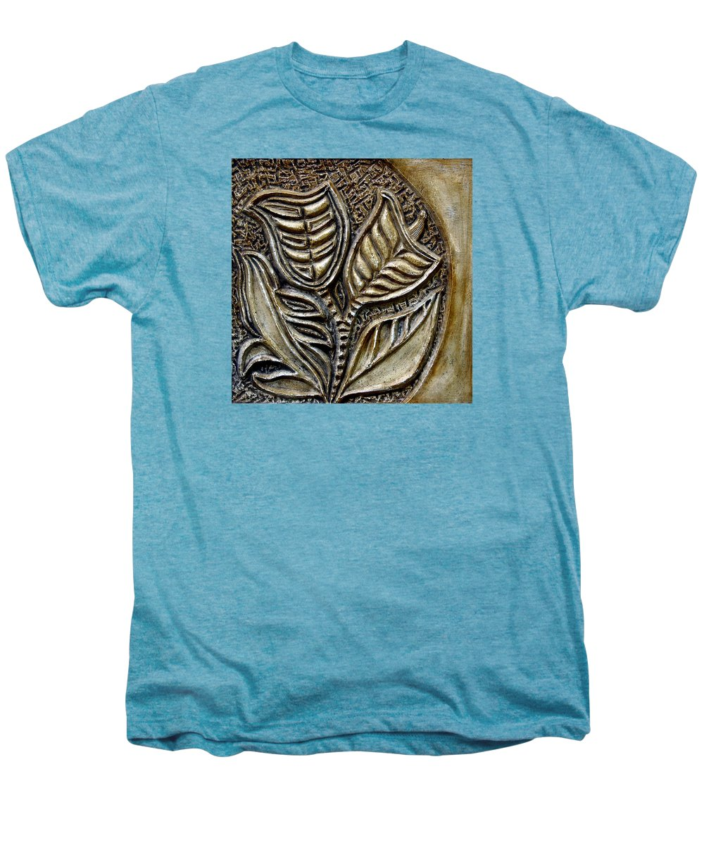 Vintaje Men's Premium T-Shirt featuring the relief Vintaje Tile With Calas by Madalena Lobao-Tello
