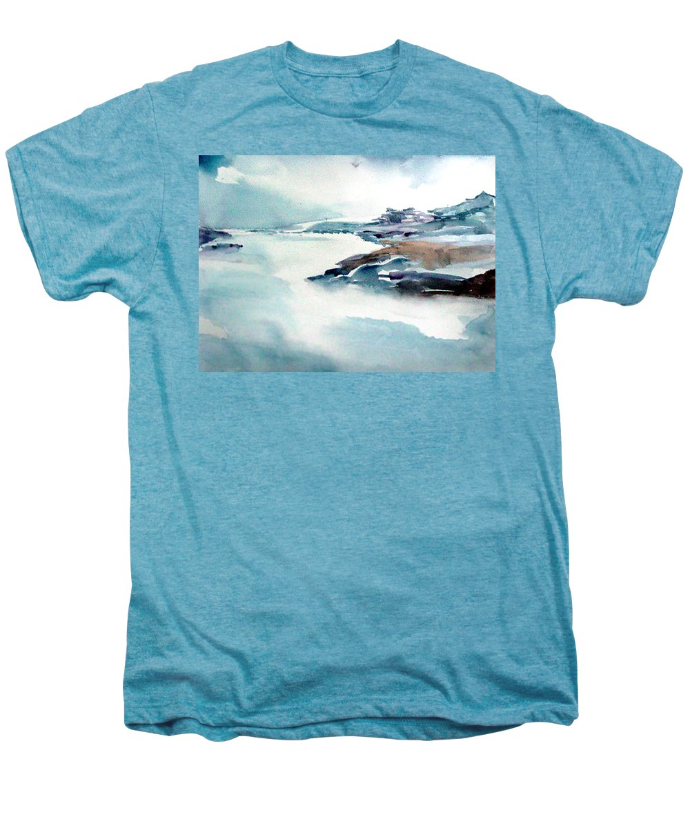 River Men's Premium T-Shirt featuring the painting Mystic River by Anil Nene