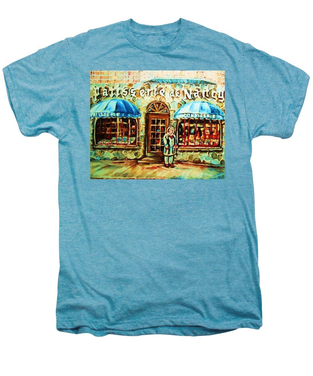 Bakery Shops Men's Premium T-Shirt featuring the painting Nancys Fine Pastries by Carole Spandau