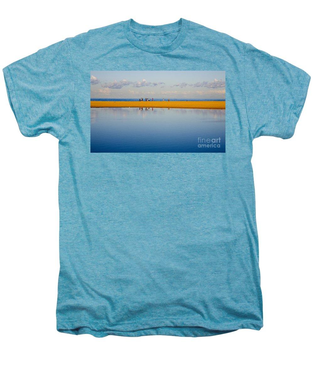 Dunes Lowry Sand Sky Reflection Sun Lifestyle Narrabeen Australia Men's Premium T-Shirt featuring the photograph Narrabeen Dunes by Sheila Smart Fine Art Photography