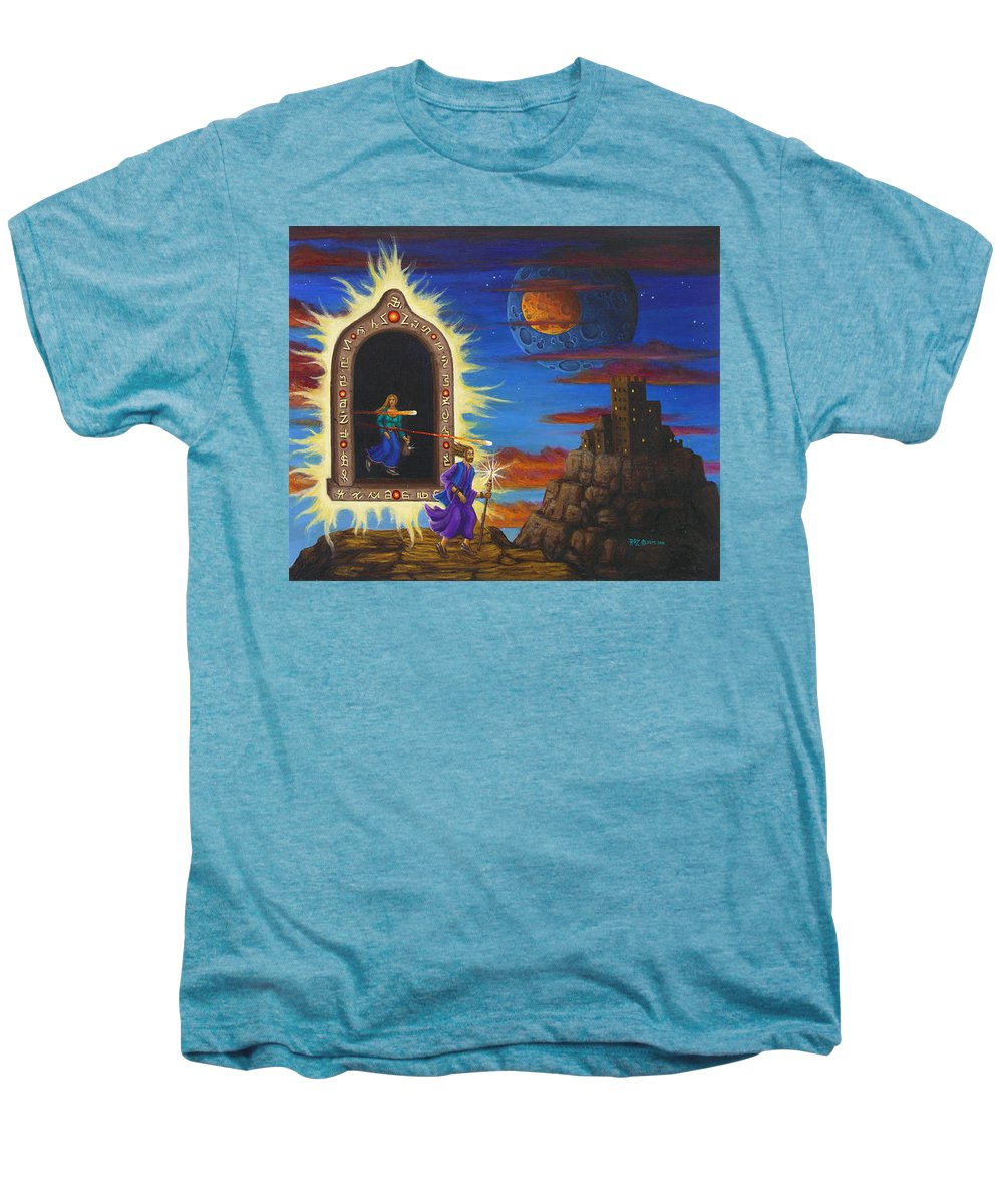 Fantasy Men's Premium T-Shirt featuring the painting Narrow Escape by Roz Eve