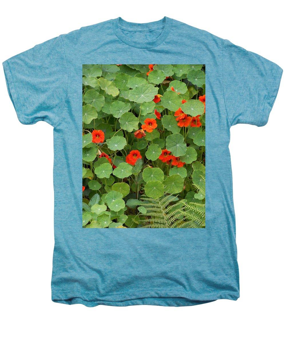 Nasturtiums Men's Premium T-Shirt featuring the photograph Nasturtiums by Gale Cochran-Smith