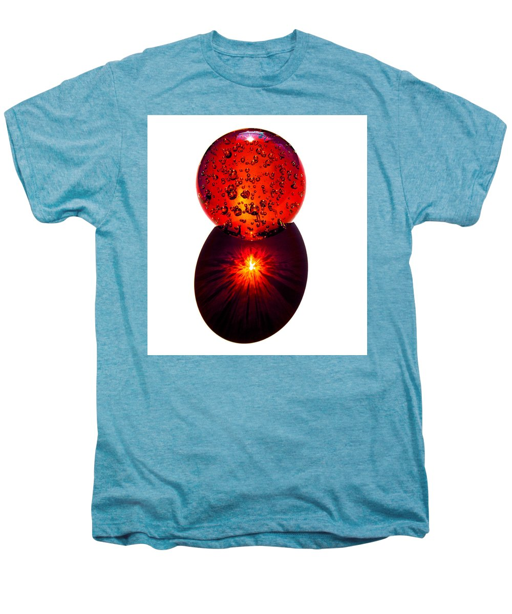 Fire; Sunset; Sunrise; Rays; Sun; Refracting; Gold; Golden; Glass; Ball; Bubbles; Sphere; Strong; Re Men's Premium T-Shirt featuring the photograph Nature Through My Crystal Ball by Allan Hughes