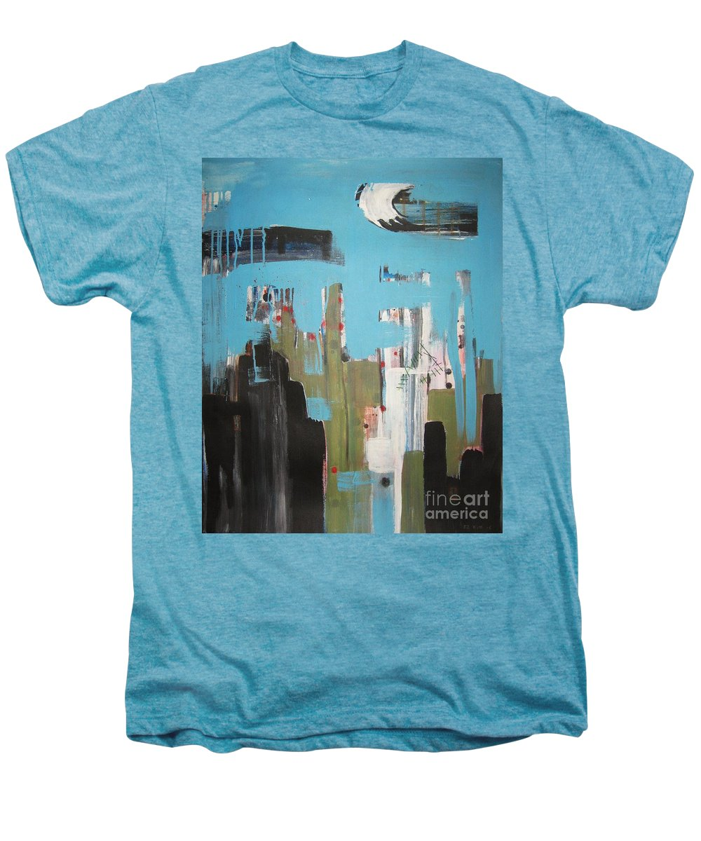 Abstract Paintings Men's Premium T-Shirt featuring the painting Neglected Area by Seon-Jeong Kim