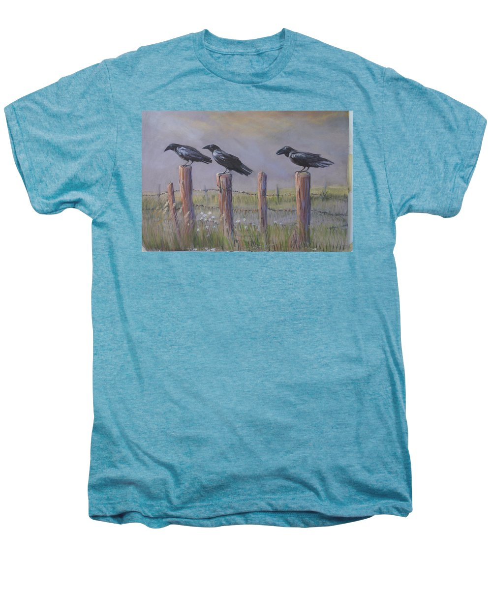 Crows Men's Premium T-Shirt featuring the painting Neighborhood Watch by Heather Coen