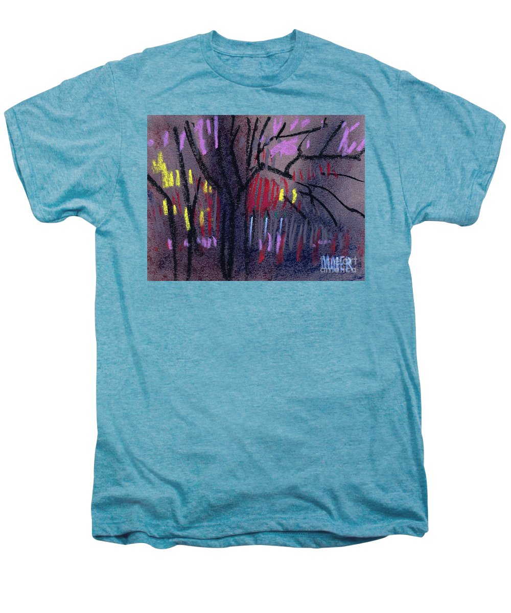 Abstract Men's Premium T-Shirt featuring the drawing Neighbor's Lights by Donald Maier