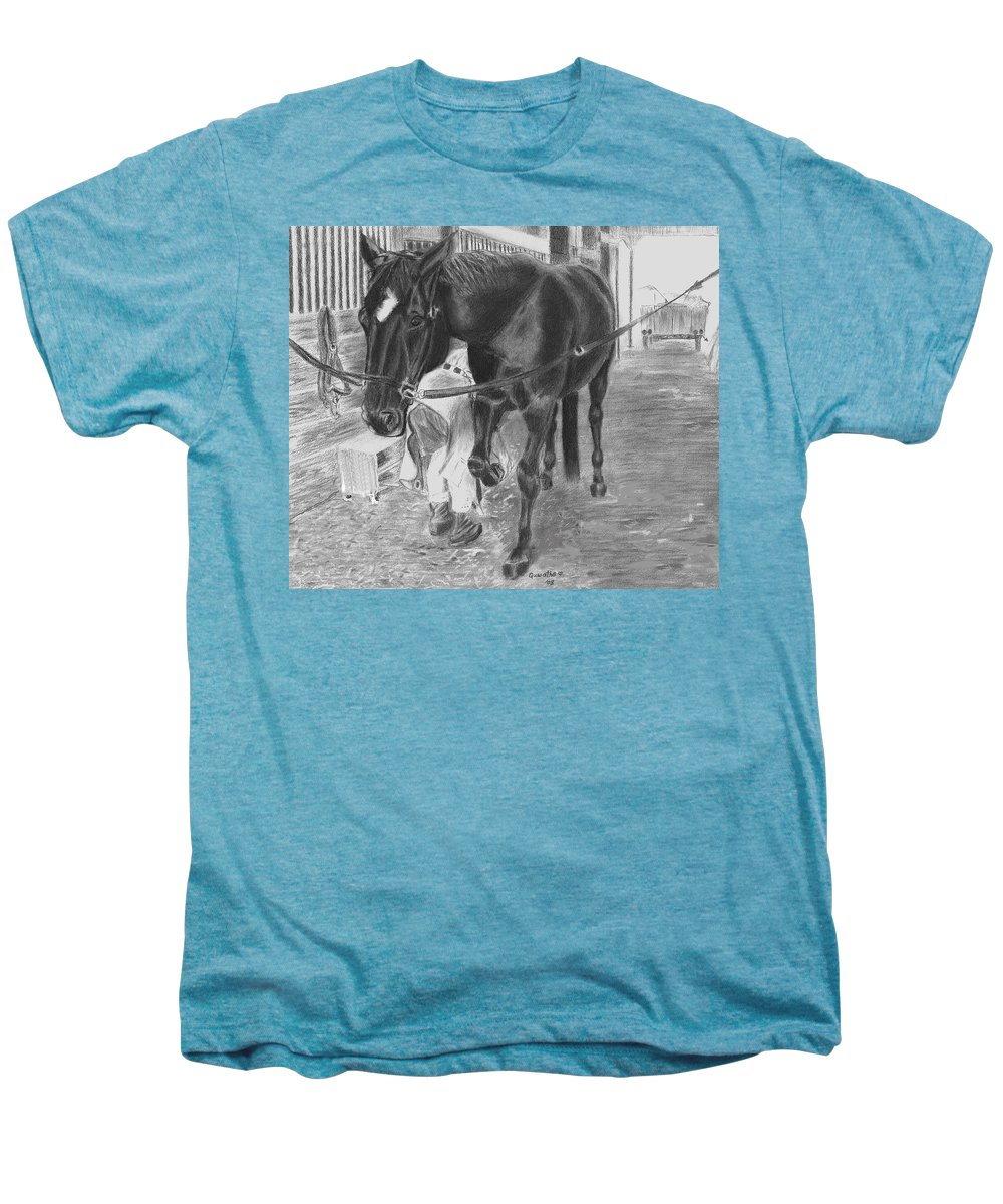 Horse Men's Premium T-Shirt featuring the drawing New Shoes by Quwatha Valentine
