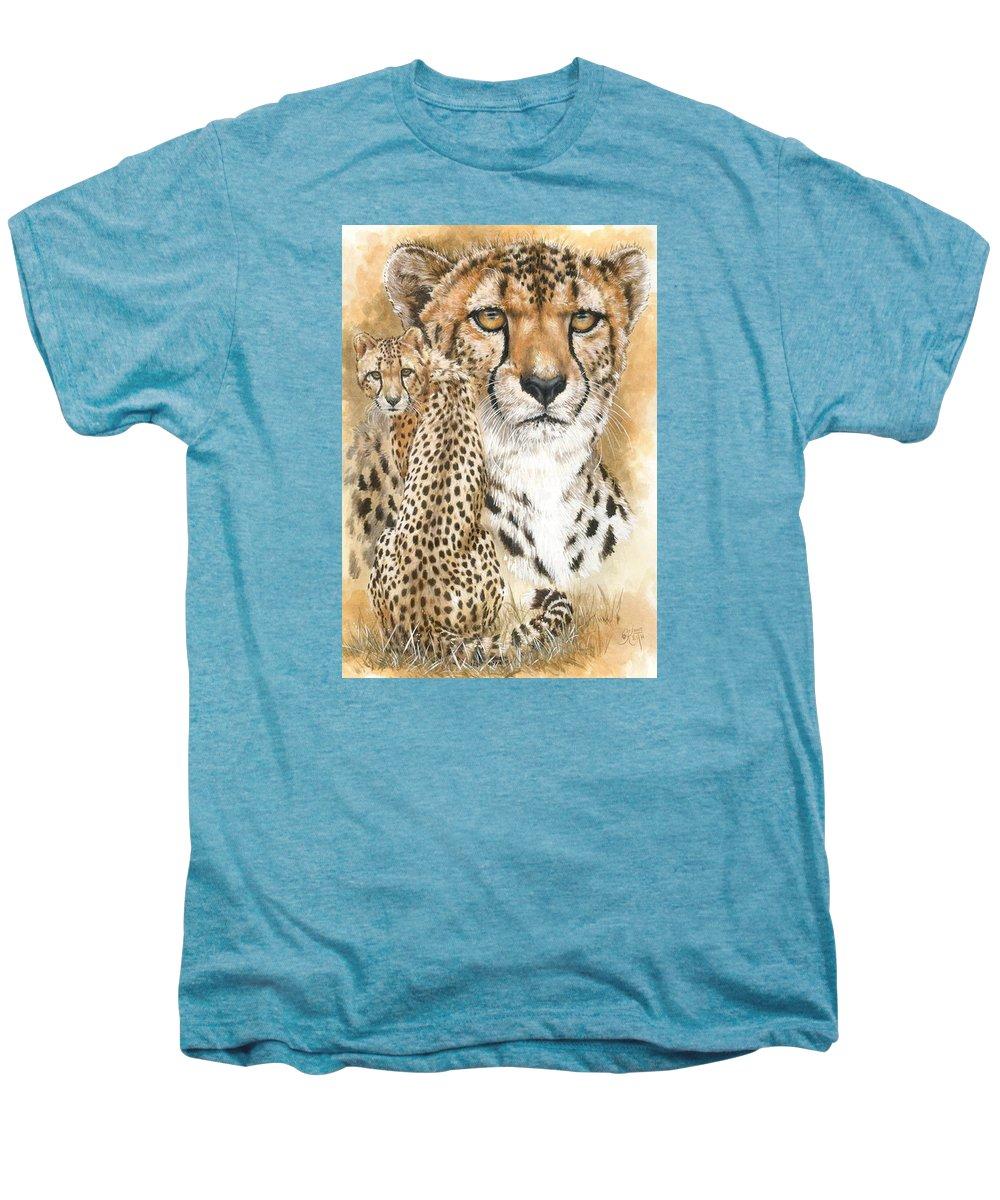Cheetah Men's Premium T-Shirt featuring the mixed media Nimble by Barbara Keith