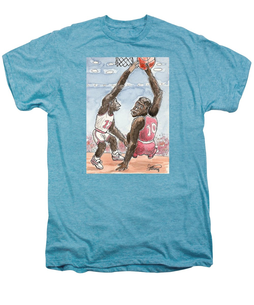 Basketbal Men's Premium T-Shirt featuring the painting No No No by George I Perez