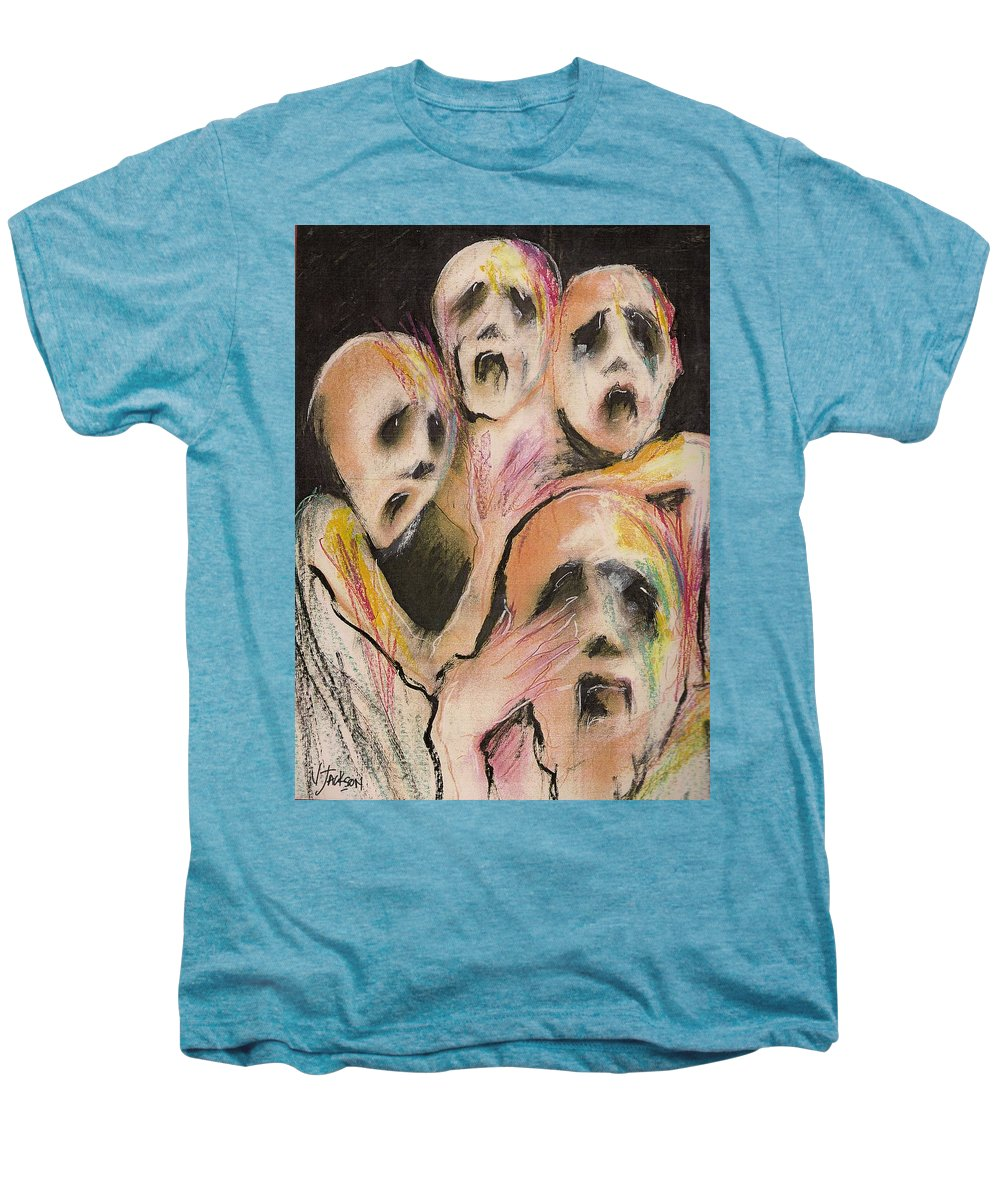 War Cry Tears Horror Fear Darkness Men's Premium T-Shirt featuring the mixed media No Words by Veronica Jackson