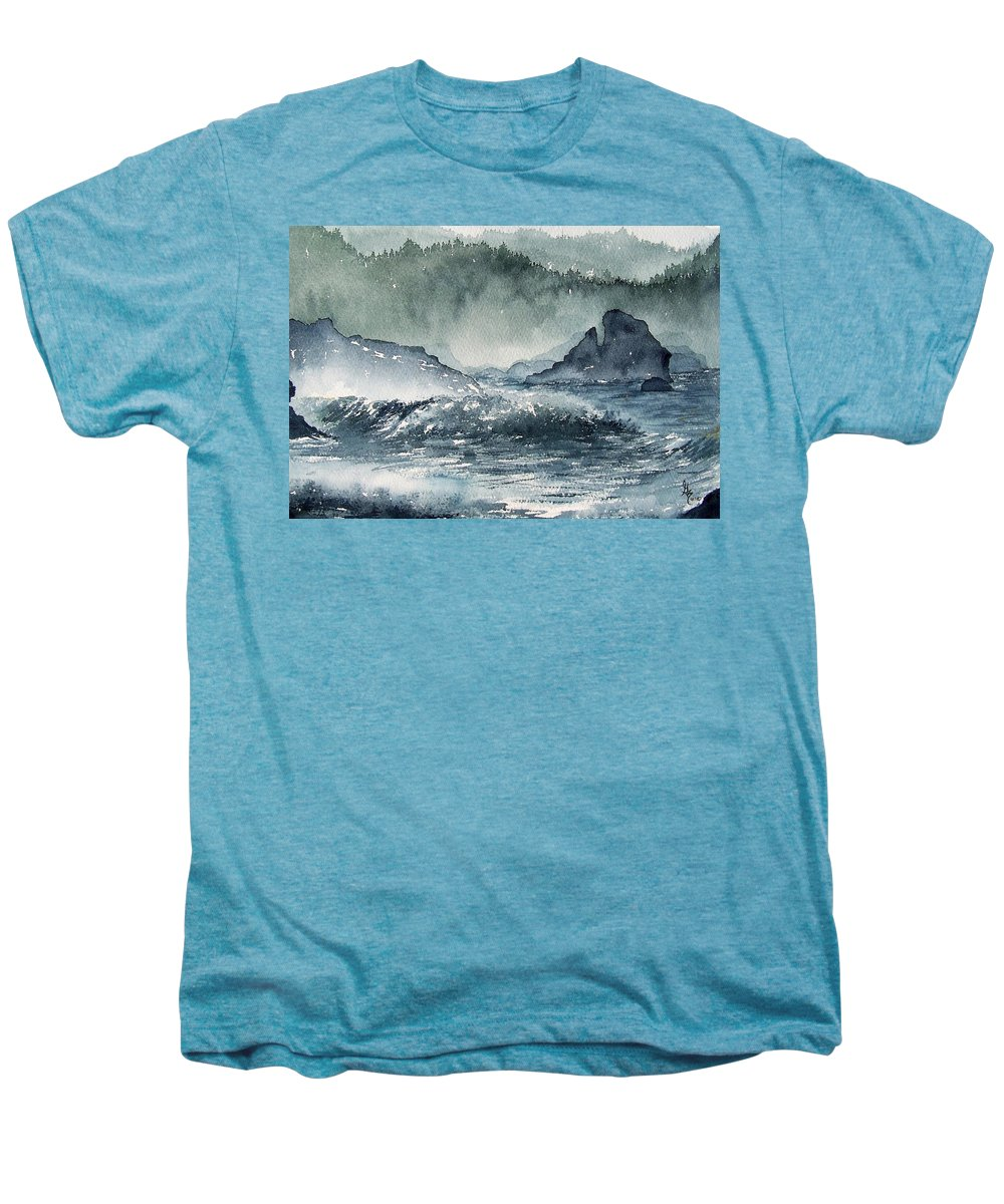 Ocean Men's Premium T-Shirt featuring the painting Northern California Coast by Gale Cochran-Smith