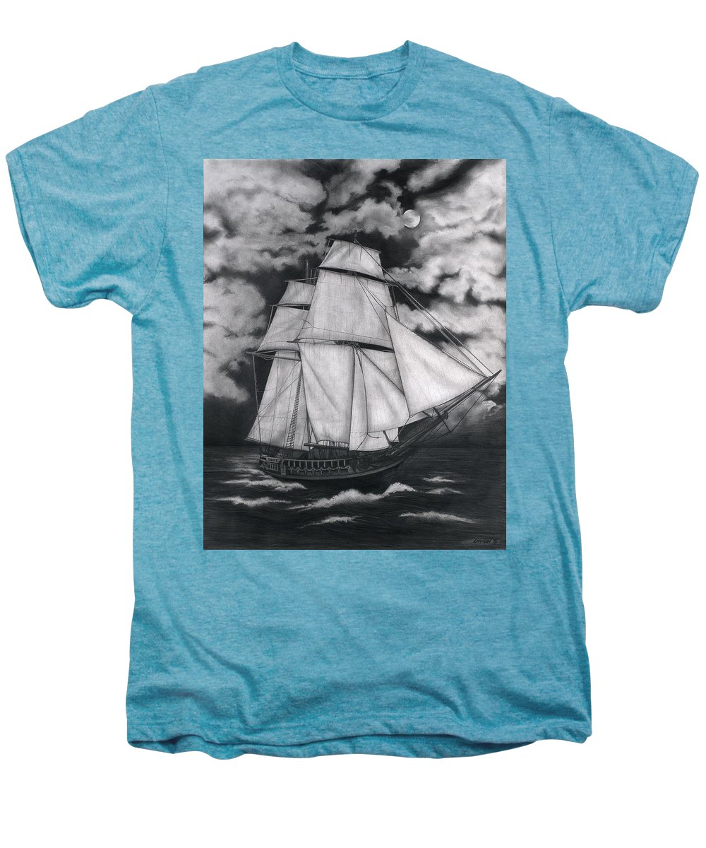 Ship Sailing Into The Northern Winds Men's Premium T-Shirt featuring the drawing Northern Winds by Larry Lehman