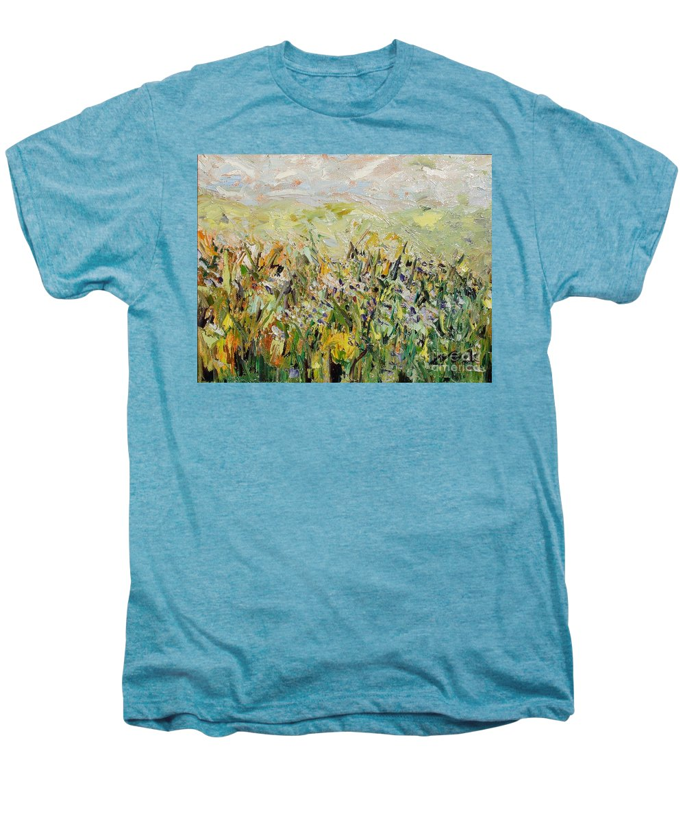 Field Paintings Men's Premium T-Shirt featuring the painting Nose Hill by Seon-Jeong Kim