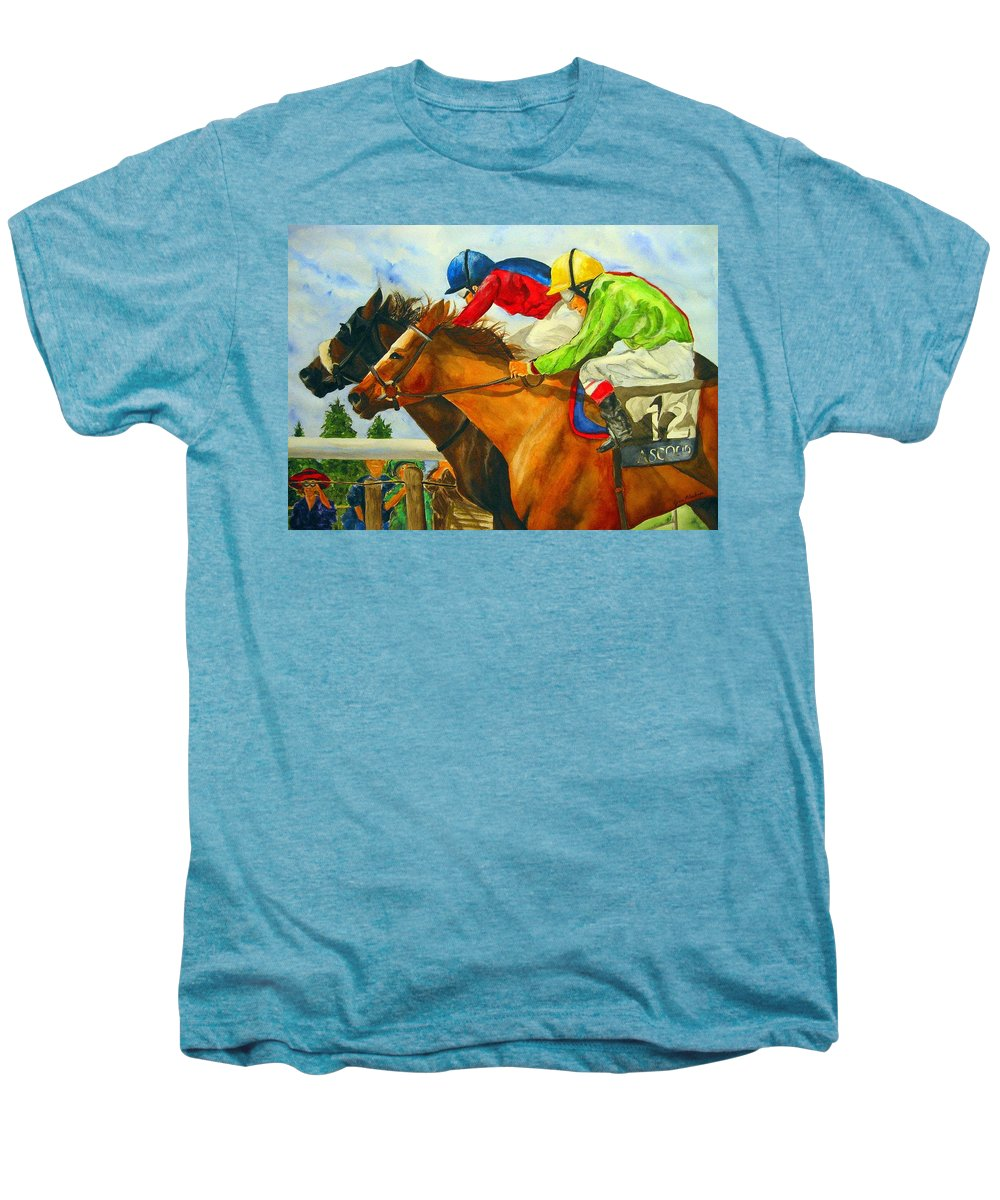 Horse Men's Premium T-Shirt featuring the painting Nose To Nose by Jean Blackmer