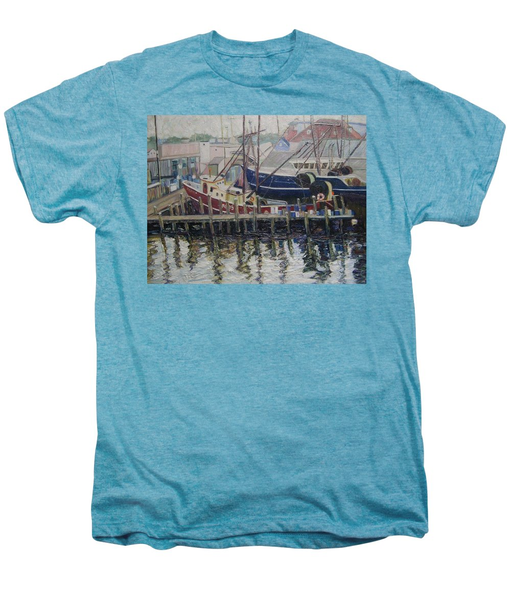 Boats Men's Premium T-Shirt featuring the painting Nova Scotia Boats At Rest by Richard Nowak