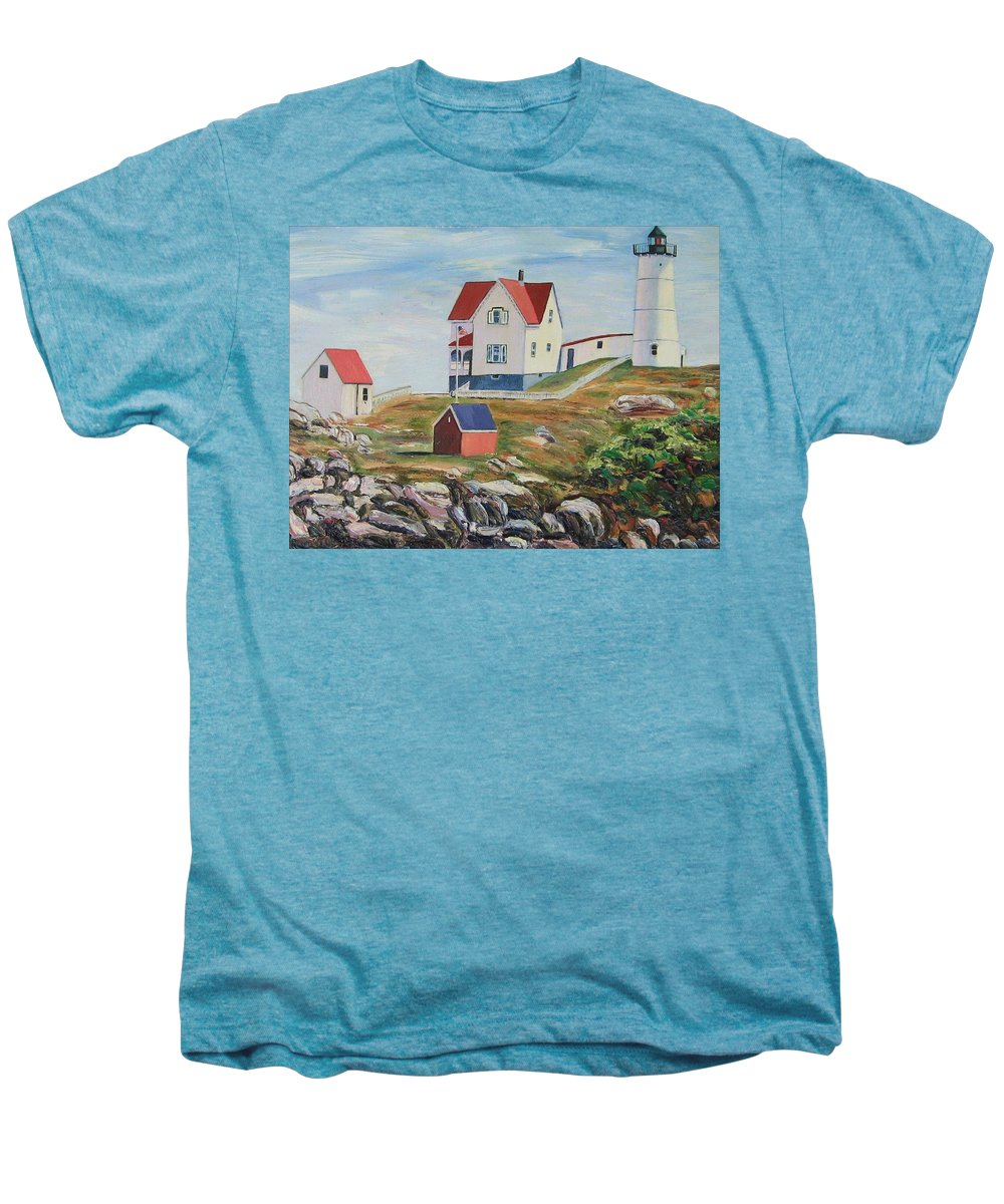 Nubble Light House Men's Premium T-Shirt featuring the painting Nubble Light House Maine by Richard Nowak