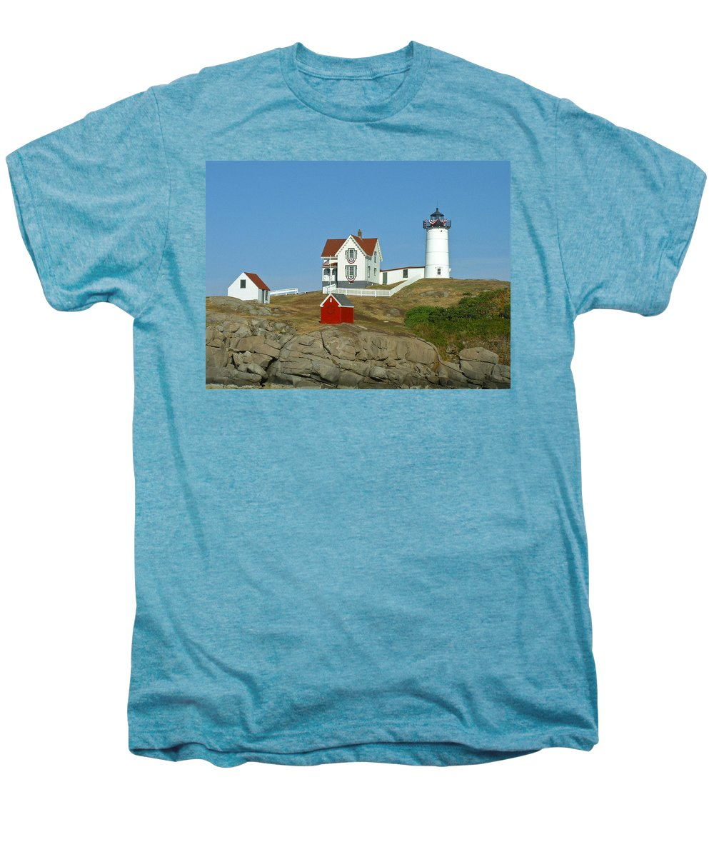 Nubble Men's Premium T-Shirt featuring the photograph Nubble Light by Margie Wildblood