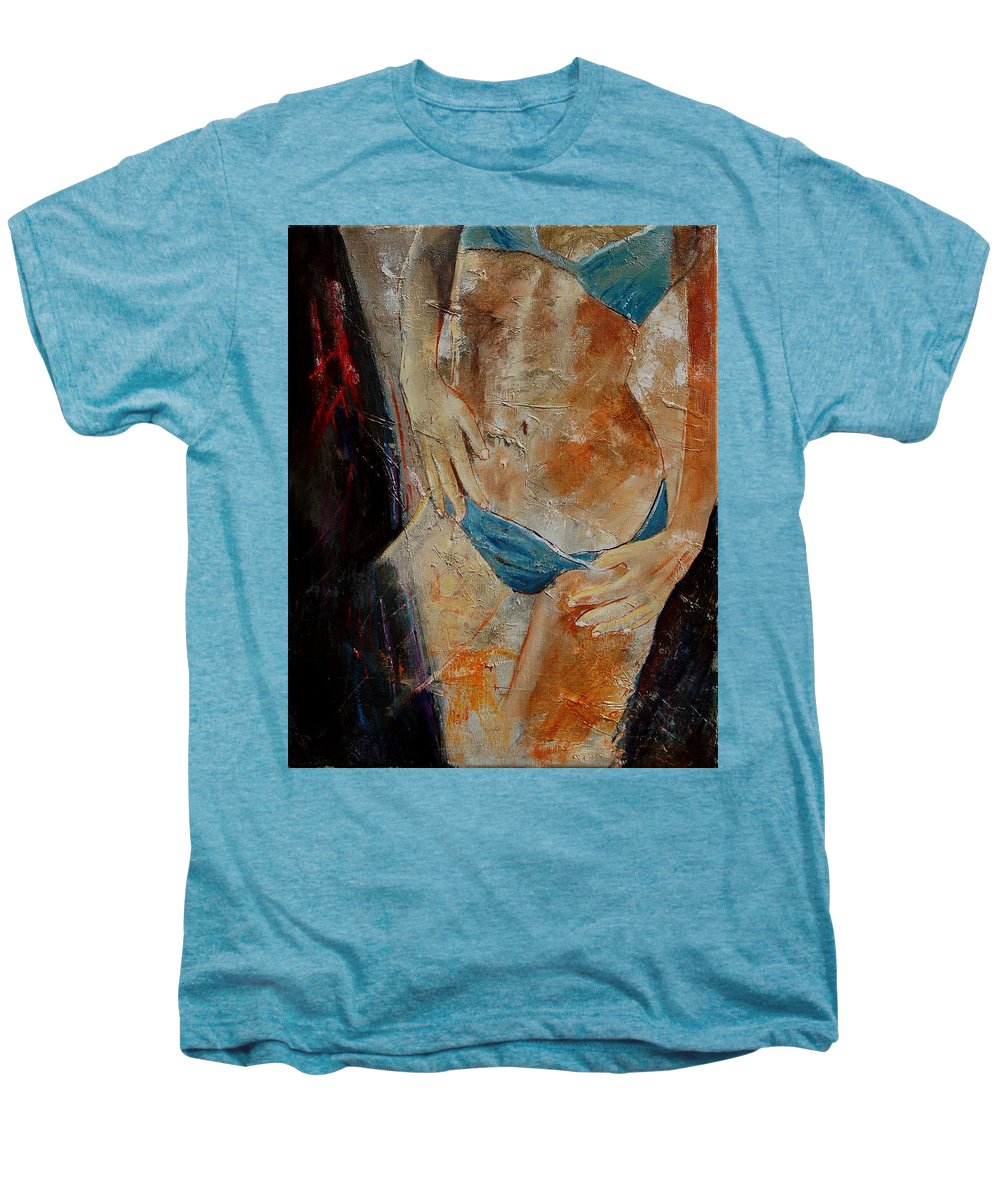 Girl Nude Men's Premium T-Shirt featuring the painting Nude 450608 by Pol Ledent