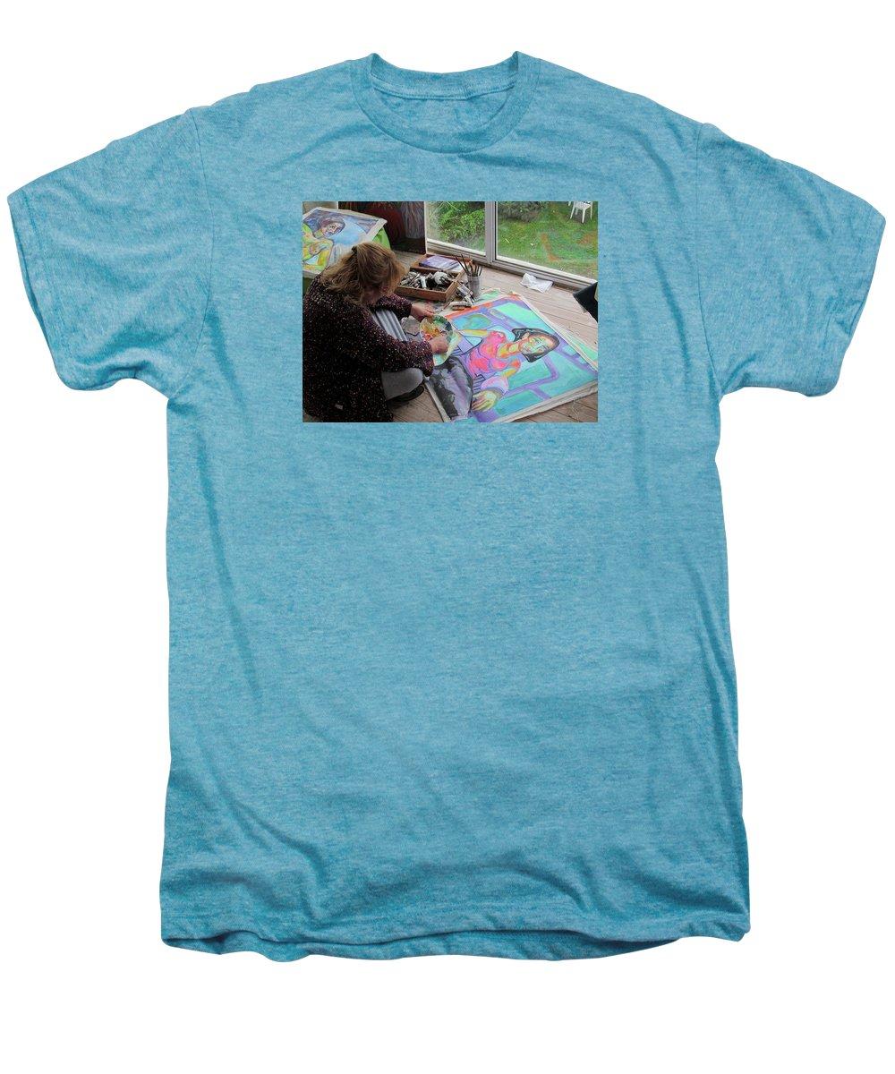 Landscape Men's Premium T-Shirt featuring the painting Nude by Raquel Sarangello