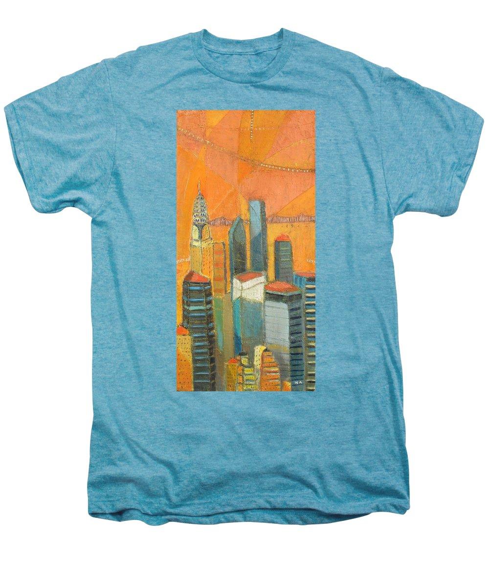 Men's Premium T-Shirt featuring the painting Nyc In Orange by Habib Ayat