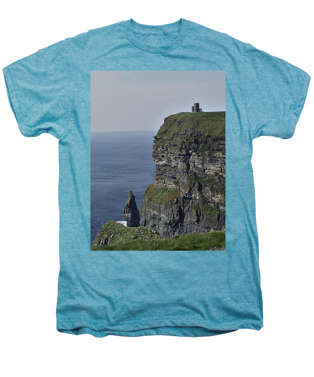 Irish Men's Premium T-Shirt featuring the photograph O Brien's Tower At The Cliffs Of Moher Ireland by Teresa Mucha