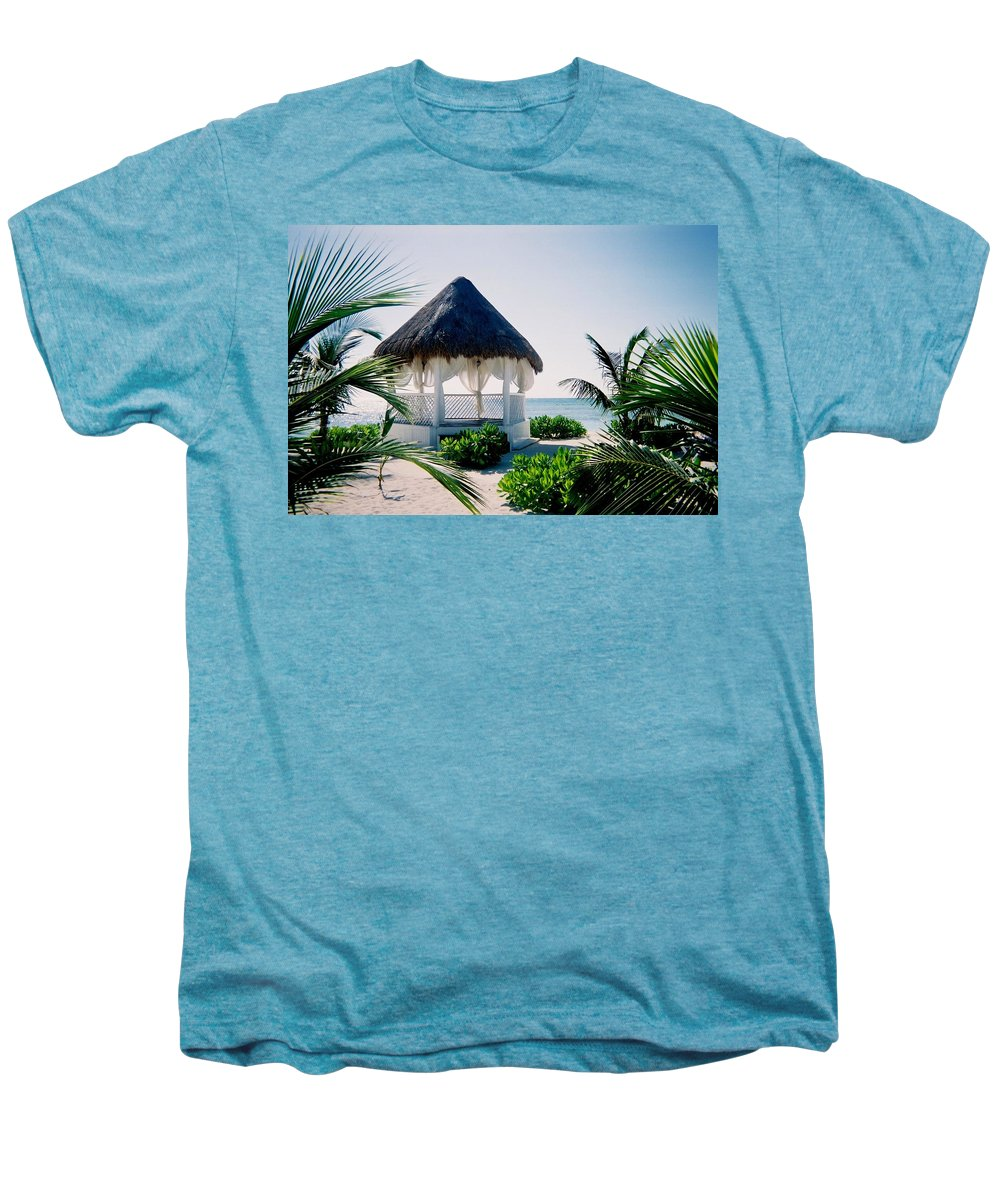 Resort Men's Premium T-Shirt featuring the photograph Ocean Gazebo by Anita Burgermeister