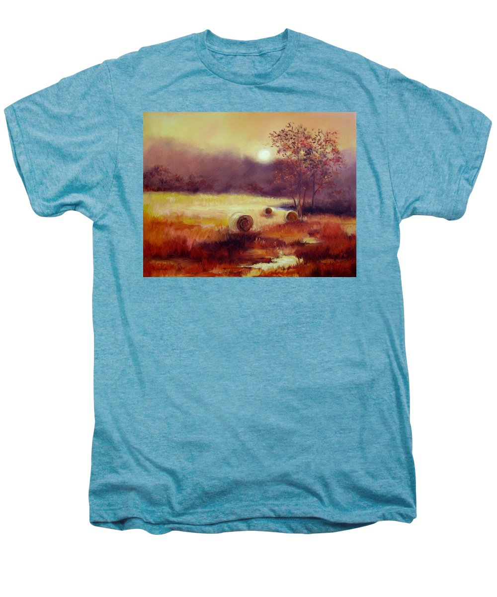 Fall Landscapes Men's Premium T-Shirt featuring the painting October Pasture by Ginger Concepcion