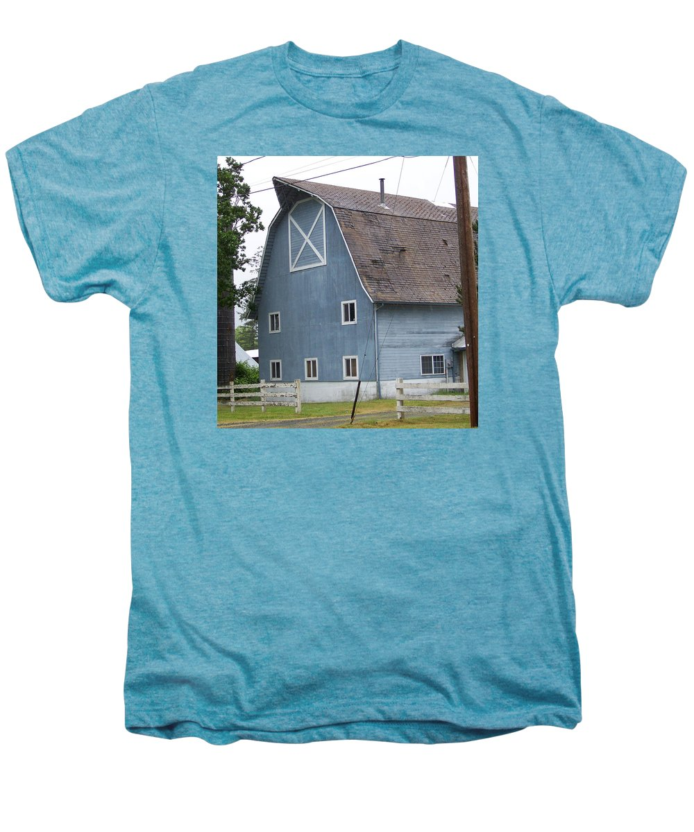 Old Men's Premium T-Shirt featuring the photograph Old Blue Barn Littlerock Washington by Laurie Kidd